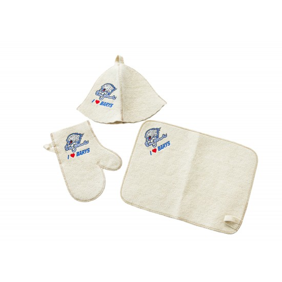 Шапка + рукавица + коврик банные (ХК Барыс)